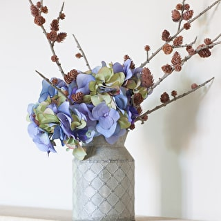 Everlasting Hydrangeas in Zinc Churn