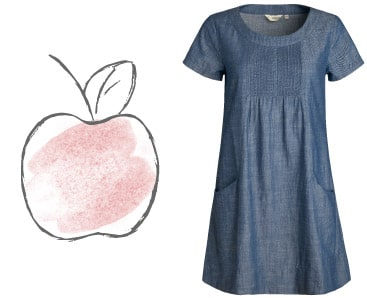 Apple dresses - Short sleeved, denim, chambray dress