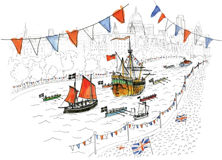 Seasalt illustration of the Queens Jubiliee flotilla boats