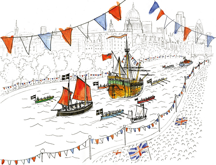 Cornish boats in the Queen's jubilee armada 2012