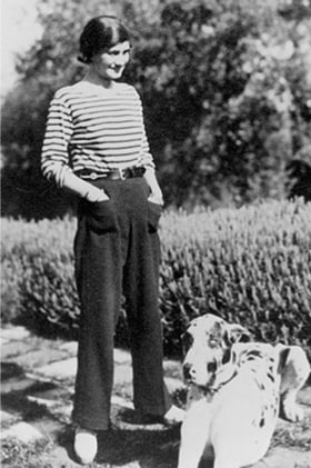 Coco Chanel wearing breton stripes