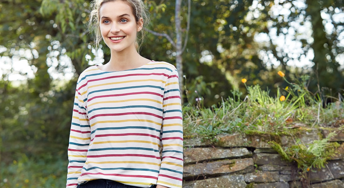 Women wearing new breton striped sailor shirts in front of a cornish hedgerow