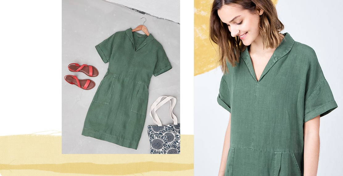 A flat layout of sandals, flowery canvas shopper bag and Pine coloured Viver dress.