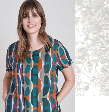 Plus size lady wearing a printed patterned top