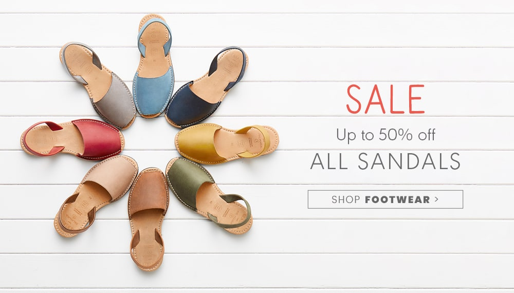 Up to 50% off all sandals. SHOP