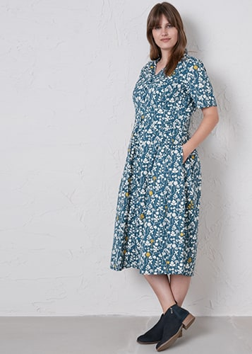 Charlotte Dress in Natural Study Starling