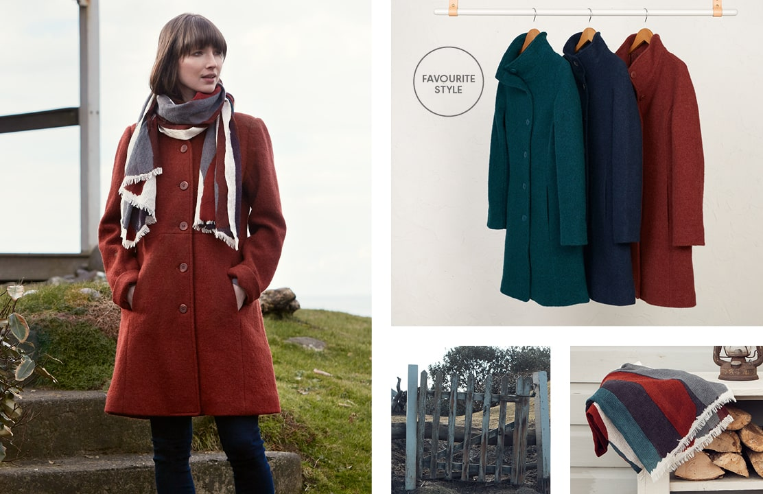 Woman wearing Falmouth Dawn Coat in Burnt Orange out in the cold.