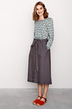 Carved Stone, Linen A-Line Skirt - Seasalt