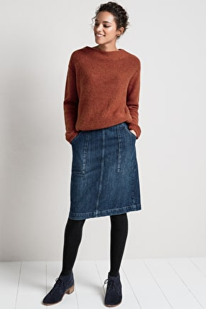 Knee Length Straight Denim Landscapist Skirt - Seasalt