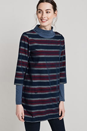 Java Tunic. Soft Striped Cord Smock Tunic - Seasalt