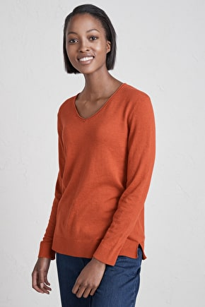 Lightweight V-Neck Cotton Plunge Pool Jumper - Seasalt
