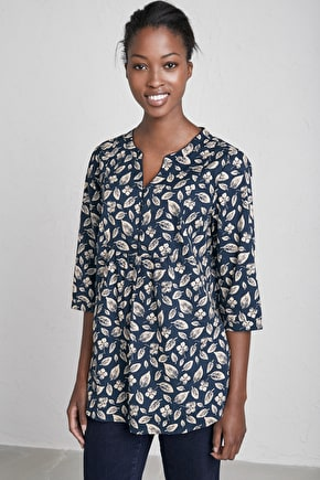 Cotton V-neck Smock like Tunic Top, Stonecrop Tunic - Seasalt