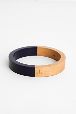 Bright Contrast, Two Tone Wood & Resin Bangle - Seasalt