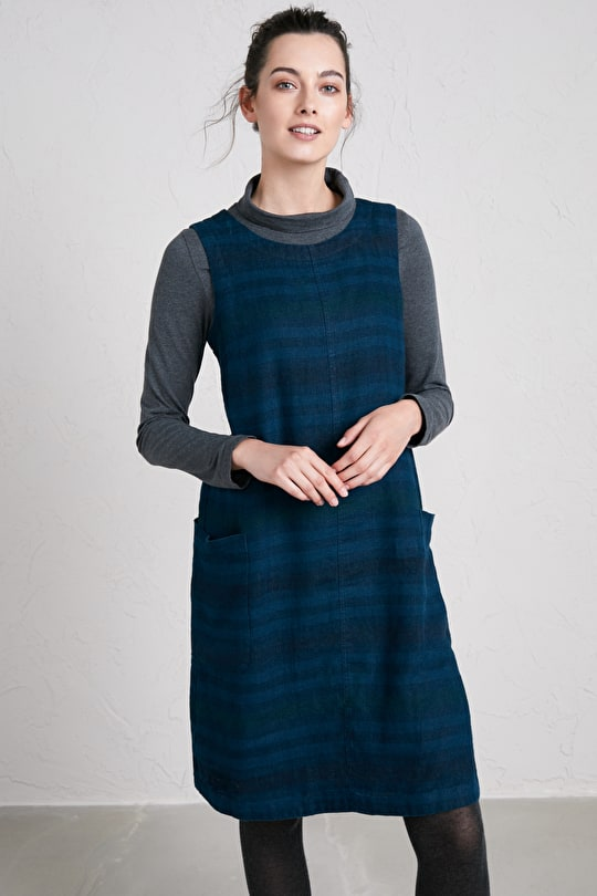 Challah Pinafore Dress, Linen Knee-Length Pinafore - Seasalt