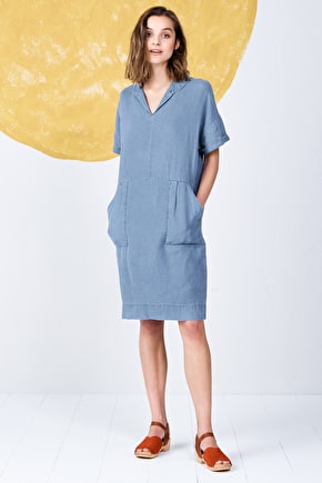 Short Sleeved V-Neck Linen Vivier Knee Length Dress - Seasalt