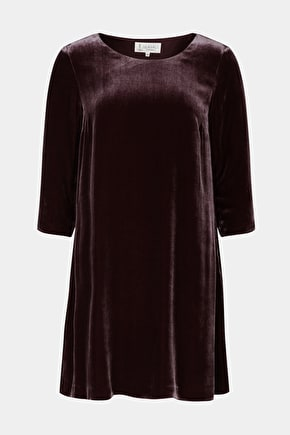 Silk Velvet Shift Dress. With Elegant 3/4 Sleeves - Seasalt