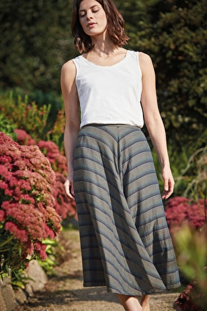 Carving Skirt | Striped cotton midi skirt | Seasalt