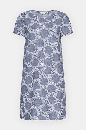 Veryan Dress, Soft Printed Chambray Summer Shift Dress - Seasalt