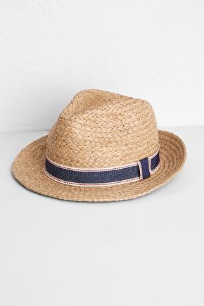 Vintage Shaped Trilby Style Skipper Straw Hat - Seasalt