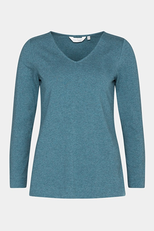Cotton Jersey V-Neck Top. In Cornish Colour Pops - Seasalt