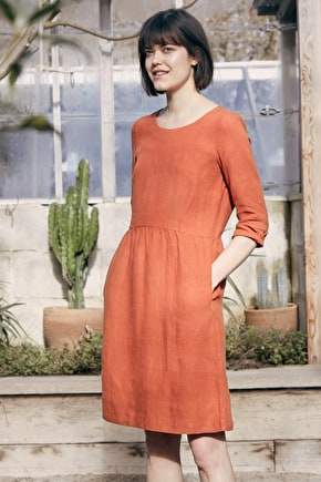 Wild Orchid Dress, Long Knee Length Linen Dress