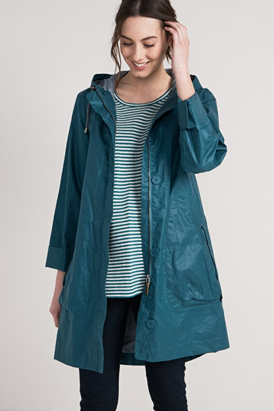 Skysail Coat, Waterproof linen A-line shaped raincoat - Seasalt