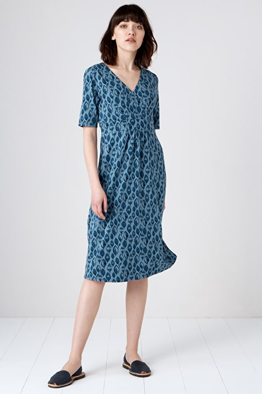 Supersoft Bamboo Below-The-Knee Kickwheel Dress - Seasalt