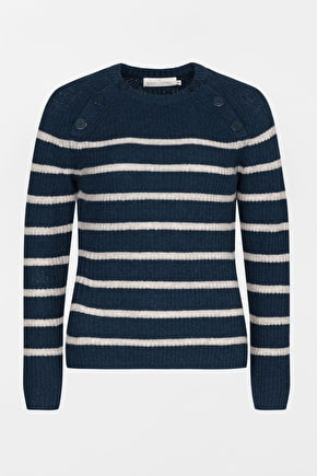 Flattering Striped Jumper. In Super Soft Lambswool - Seasalt