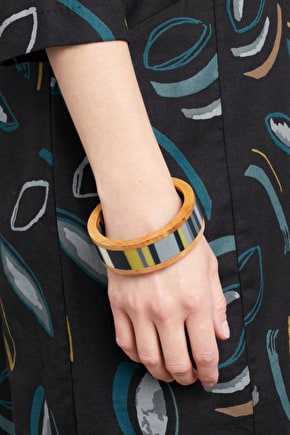 Symmetry Bangle, Striped Resin Wood Bangle - Seasalt Cornwall