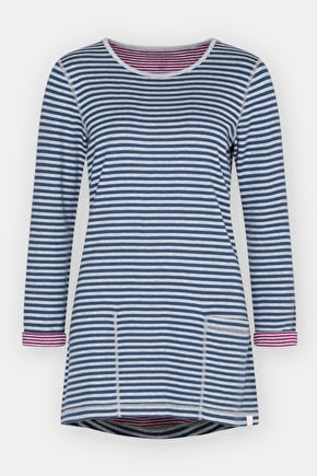Henon Tunic - Reversible Striped Cotton Tunic Top - Seasalt