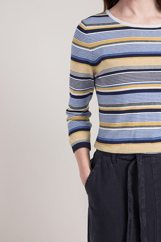Headsail Top, Nautical Striped Knit - Seasalt