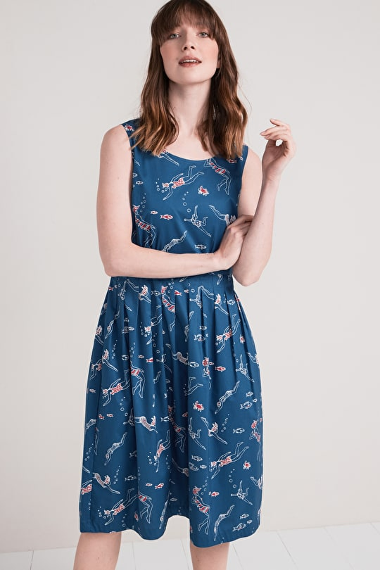 Seamstress Dress, Full Skirted Cotton Fit and Flare Dress - Seasalt