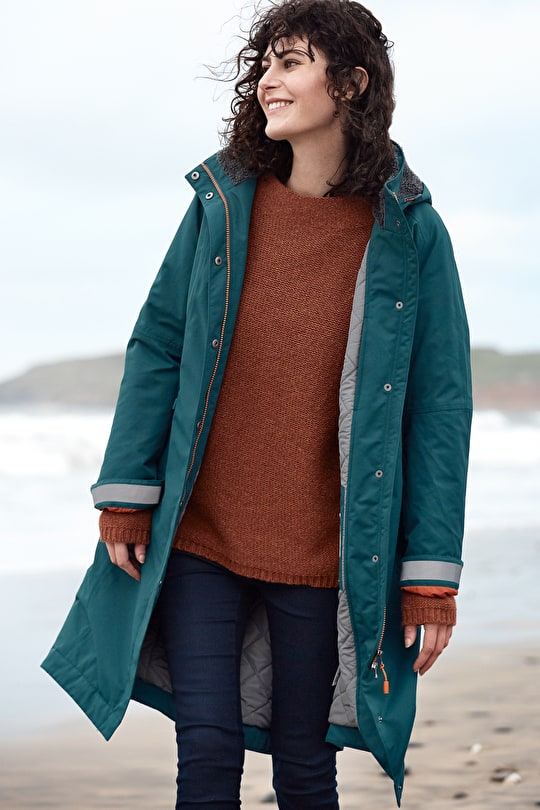Janelle Coat. Fleece Lined Waterproof Womens Jacket - Seasalt
