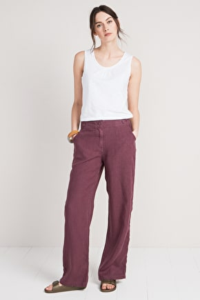 Carhales Linen Womens Trousers, Loose Wide Leg Fit