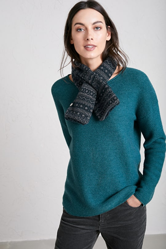 Mingle Pull Through Scarf, Knitted Merino Blend - Seasalt