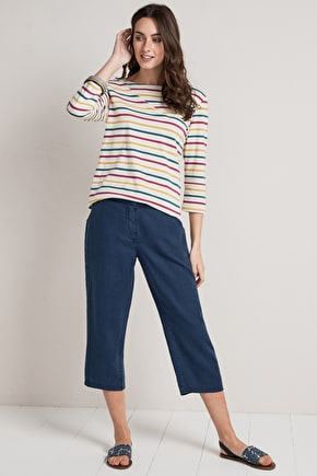 Brawn Point Trousers, Straight Leg Linen Crops - Seasalt