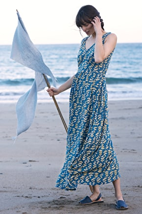 Polmanter, Long Sleevless Printed Cotton Summer Maxi Dress - Seasalt