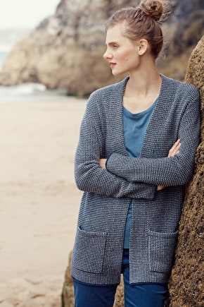 Granary Cardigan. Long Merino Knit - Seasalt