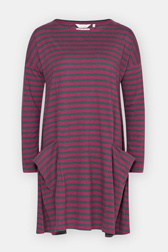 Soft Cotton Swing Dress. In Smart Breton Stripes - Seasalt