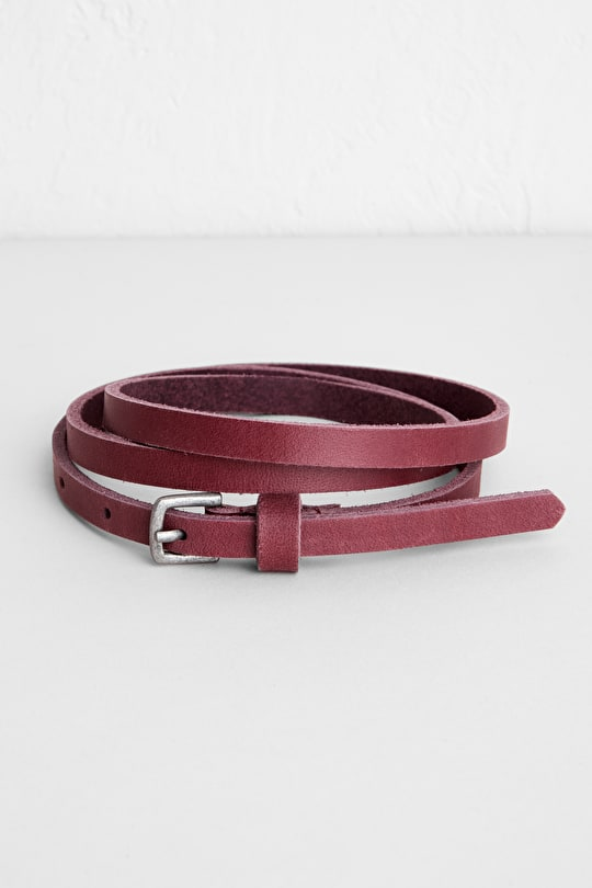 Colourful Narrow Leather Womens Belt , Monotype Belt - Seasalt