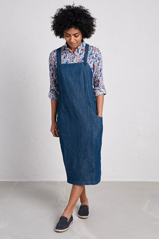 High Moorland Pinafore Dress, Cotton Twill Dress - Seasalt Cornwall