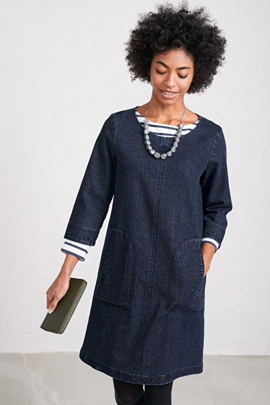 Redinnick Dress - Relaxed Denim A-line Dress - Seasalt