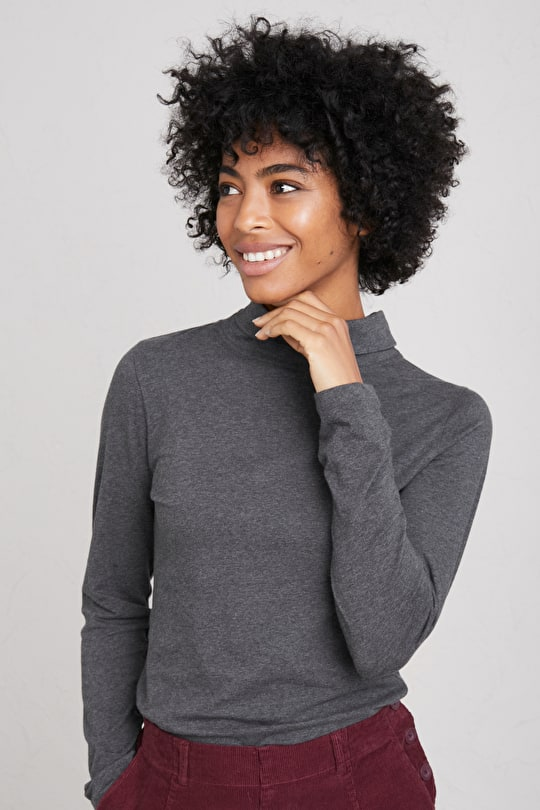 Cotton Striped Top. With Slouchy Roll Neck - Seasalt