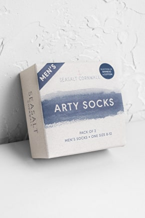 Men's Arty Socks Box Of 2, Organic Cotton Ankle Socks - Seasalt