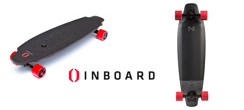 black inboard electric skateboard with red wheels
