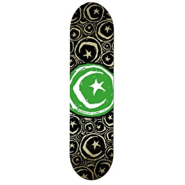 Foundation Star & Moon Stickered Team Skateboard Deck - Green 8.25