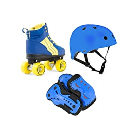 Rio Roller Pure Quad Roller Skates & Protection Bundle - Blue