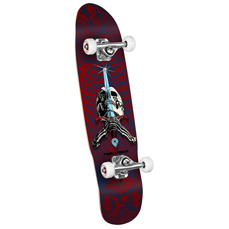 Powell Peralta Mini Skateboard - Skull & Sword Blue/Red 8""