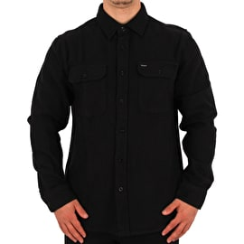 Brixton Bowery Long Sleeve Flannel Shirt - Washed Black