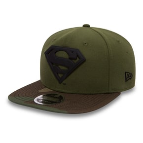 New Era Superman Camo Metal Hero Snapback Cap - Rifle Green/Woodland Camo